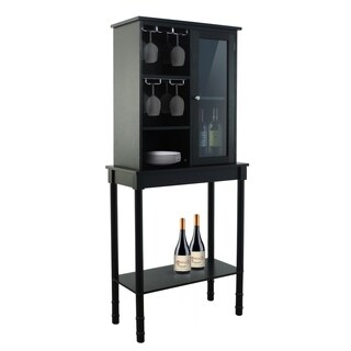 Black finish wood wine storage cabinet