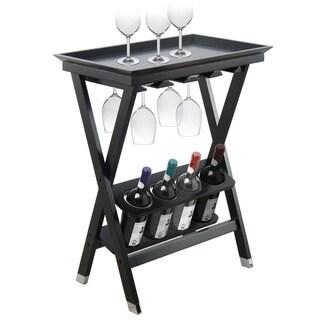 Black finish wood folding wine table