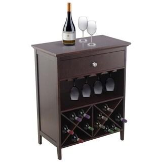 Dark Walnut Wood Wine Storage Table