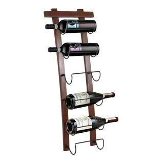 Dark Bronze and Oak finish curved wine rack