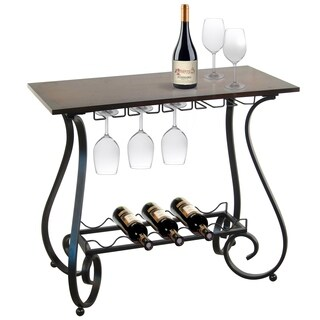 Metal and wood wine storage console table