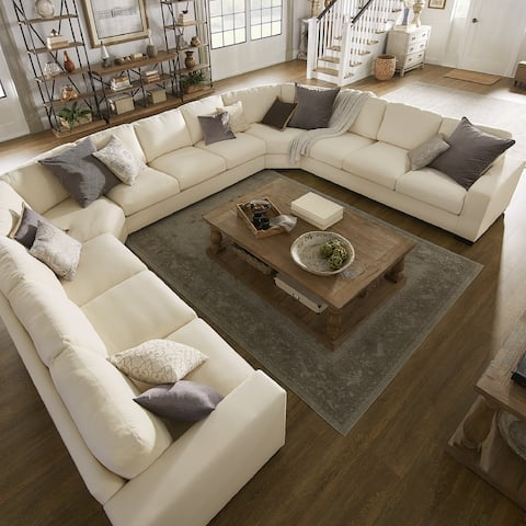 Lionel White Cotton Fabric Down-Filled U-Shaped Sectional by iNSPIRE Q Artisan