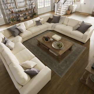 Charmant Lionel White Cotton Fabric Down Filled U Shaped Sectional By INSPIRE Q  Artisan