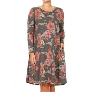 Women's Plus Size Floral Long Sleeve Dress