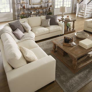 Lionel White Cotton Fabric Down Filled L Shaped Sectional By Inspire Q