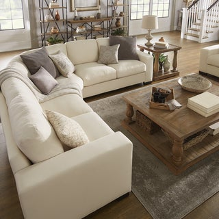 lionel white cotton fabric downfilled lshaped sectional by inspire q artisan