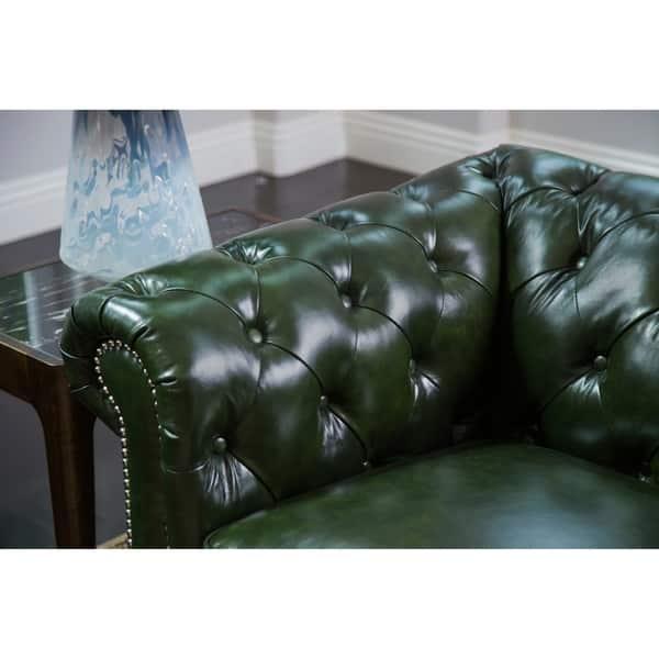 Awe Inspiring Shop Abbyson Virginia Green Waxed Leather Chesterfield Sofa Machost Co Dining Chair Design Ideas Machostcouk