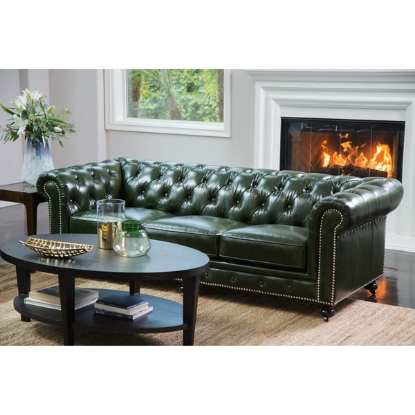Shop Abbyson Virginia Green Waxed Leather Chesterfield Sofa On