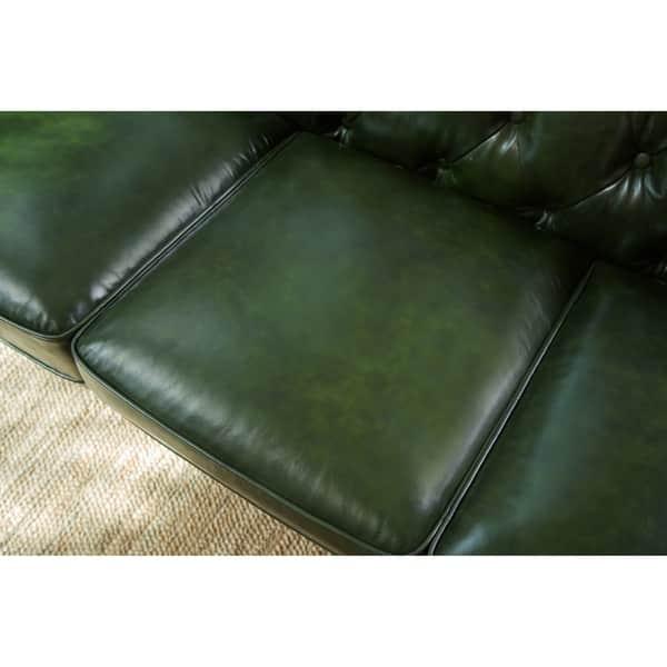 Shop Abbyson Virginia Green Waxed Leather Chesterfield Sofa ...