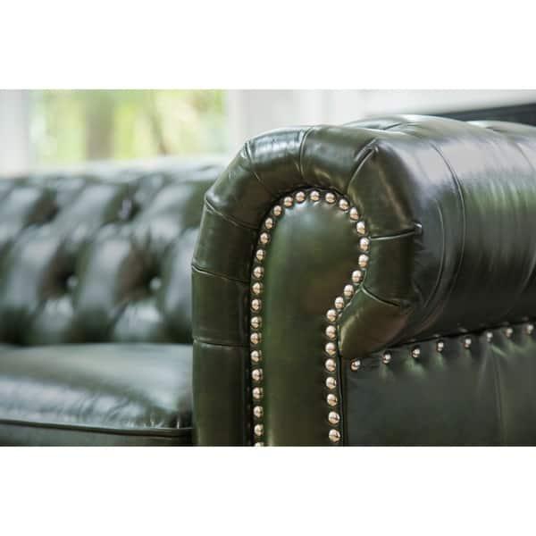 Shop Abbyson Virginia Green Waxed Leather Chesterfield Sofa - On ...