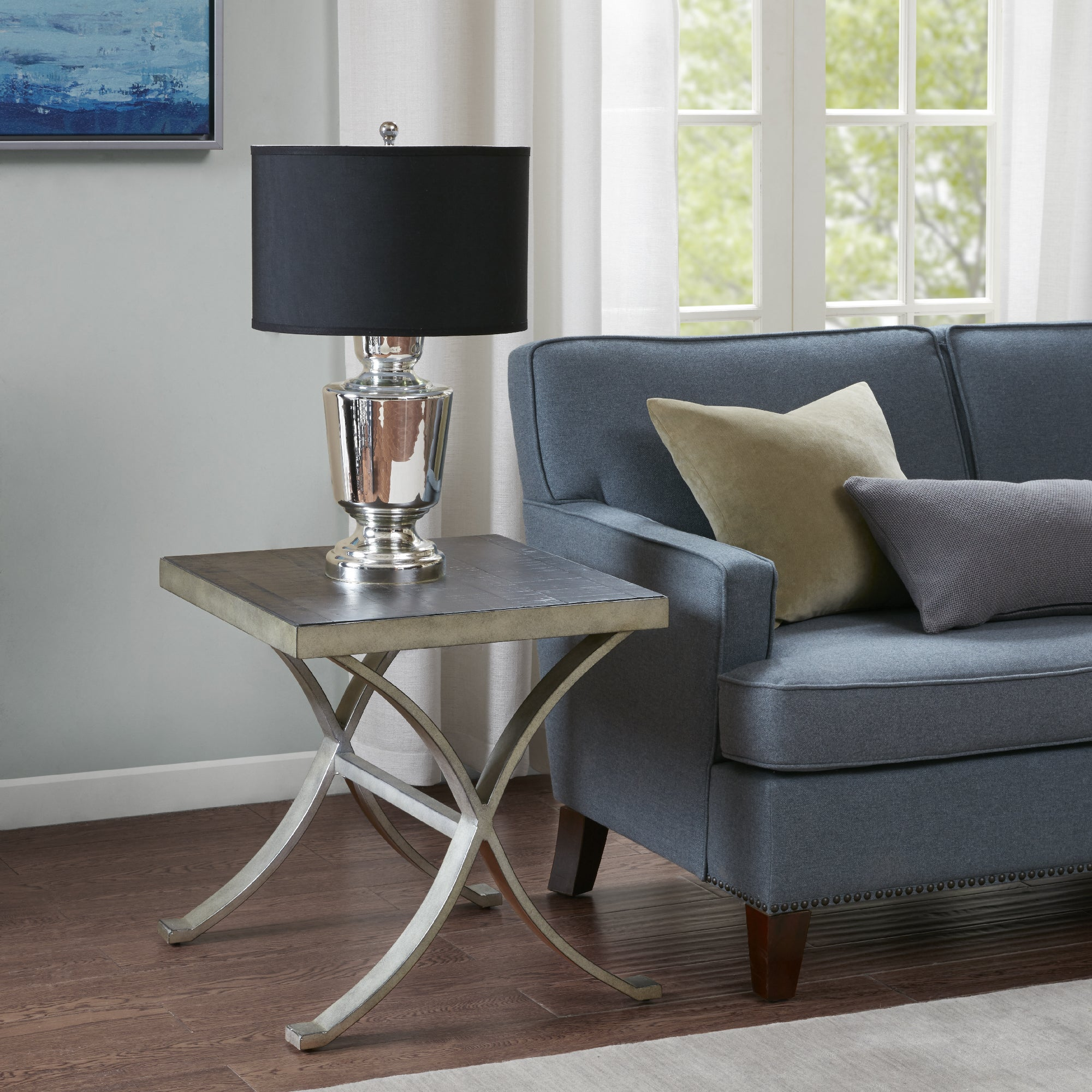 Madison Park Clayton Grey Wood/Metal Square End Table (20...