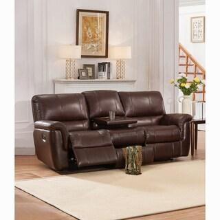 Ethan Chestnut Brown Premium Top Grain Leather Reclining Sofa