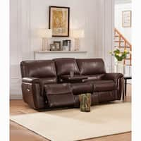Ethan Chestnut Brown Premium Top Grain Leather Reclining Sofa