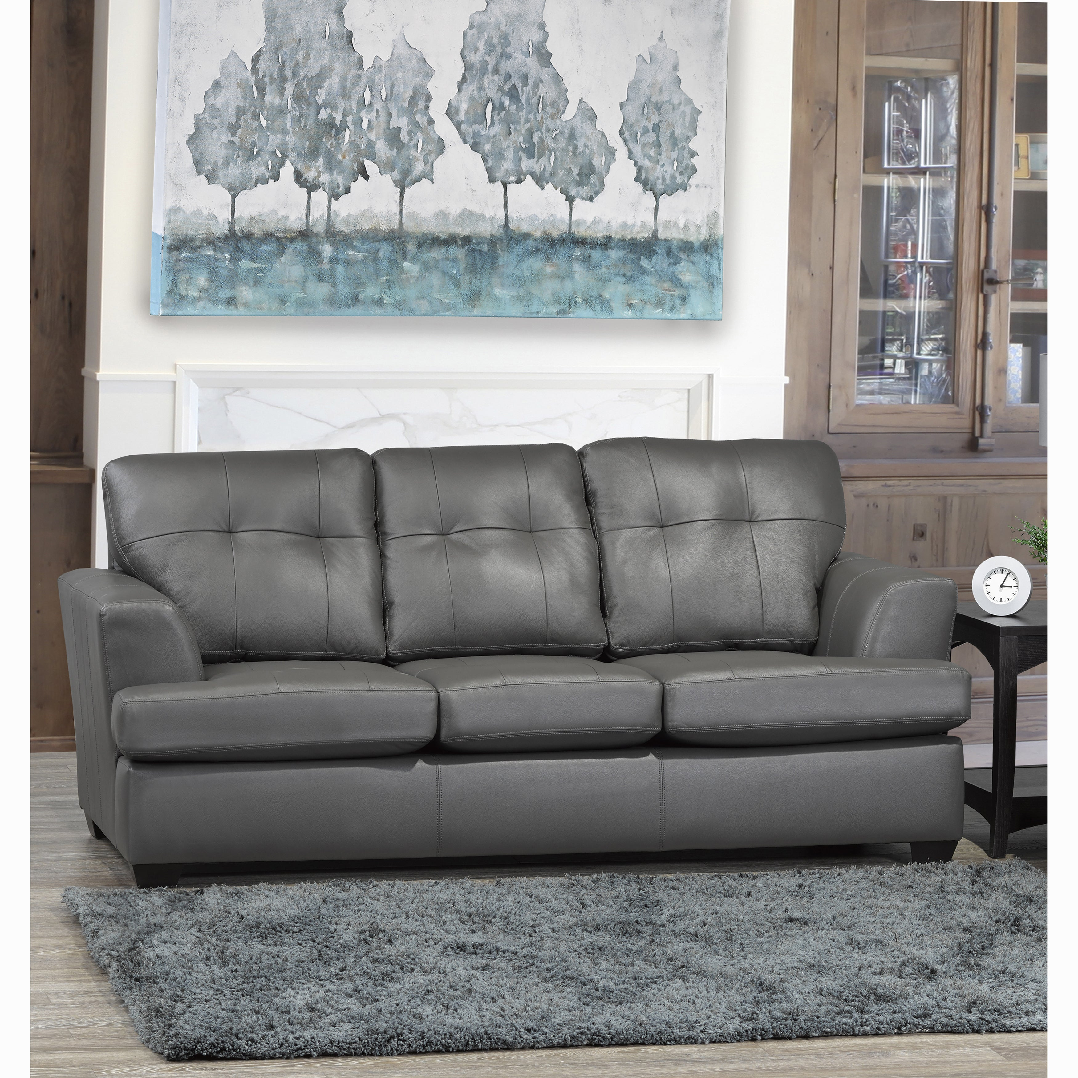 Grey Top Grain Leather Tufted Sofa