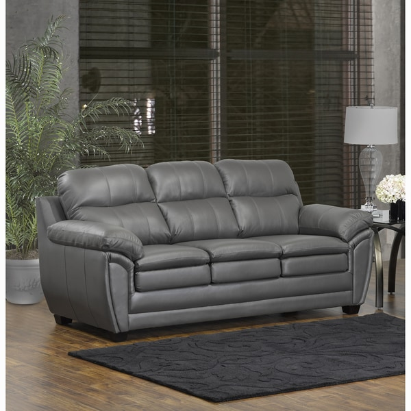 Sofas And Couches On Sale: Shop Marcus Premium Grey Top Grain Leather Sofa