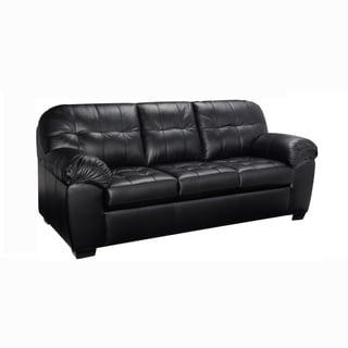 Emma Premium Black Top Grain Leather Tufted Sofa