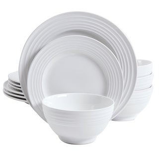 Gibson Plaza Cafe 12 piece Dinnerware Set  in White Solid Color