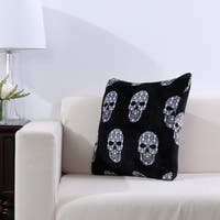 Velvety Skull Print Plush Throw Pillow