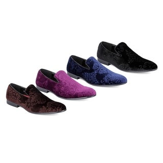 Miko Lotti Men's Slip-on Velvet Smoking Loafers