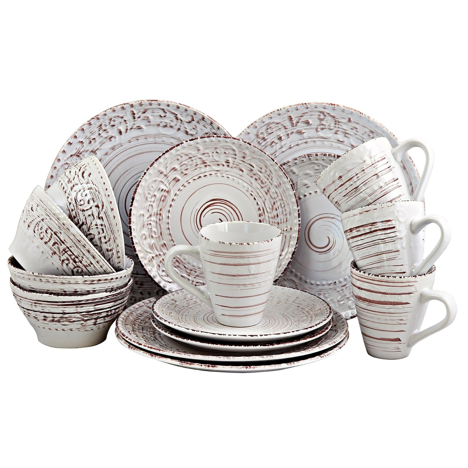 Casual Dinnerware Set Dishwasher Safe Off-White Textured Stoneware (16-Piece)  sc 1 st  eBay : casual dinnerware set - Pezcame.Com