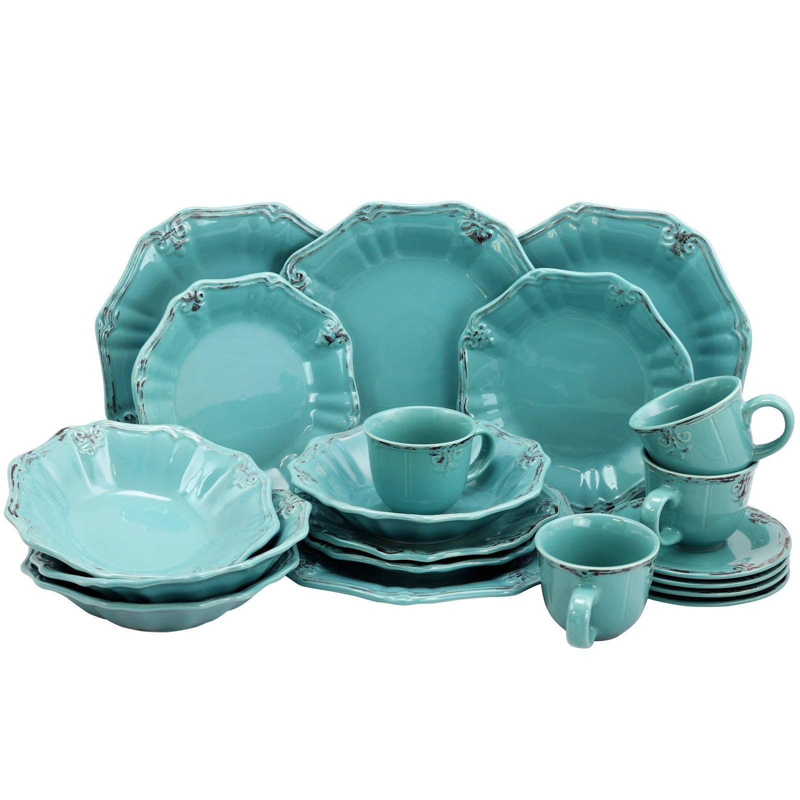 Casual Dinnerware Set Dishwasher-Safe Stoneware Floral Border Turquoise (20-PC)  sc 1 st  eBay & Casual Dinnerware Set Dishwasher-Safe Stoneware Floral Border ...