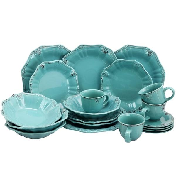 Elama Fleur De Lys 20 Piece Dinnerware Set in Turquoise