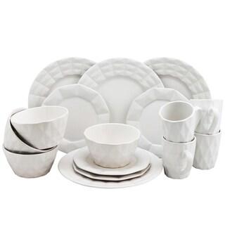 Elama Retro Chic 16 Piece Glazed Dinnerware Set in White