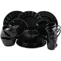 Elama Retro Chic 16 Piece Glazed Dinnerware Set in Black