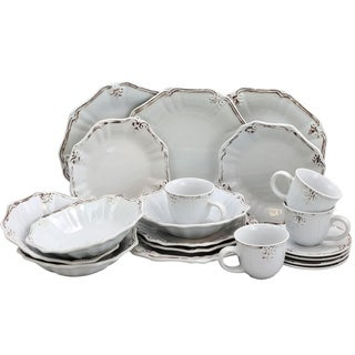 Elama Fleur De Lys 20 Piece Dinnerware Set in White  sc 1 st  Casual Dinnerware For Less   Overstock.com & Casual Dinnerware For Less   Overstock.com