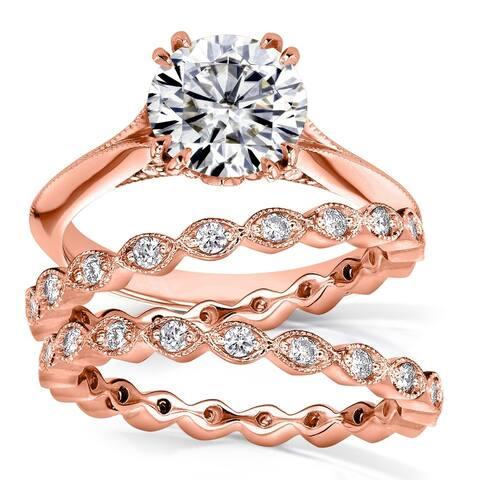 Annello by Kobelli 14k Gold 2 1/4 Carats TGW Round Moissanite (7.5mm) and Diamond 3-piece Bridal Set (FG/VS, GH/I)