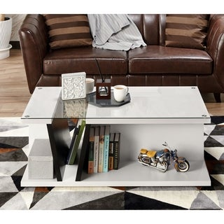 Furniture of America Tulipe White/Black Glass Top Coffee Table