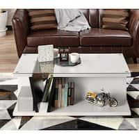 Furniture of America Tulipe White/Black Glass Top Coffee Table