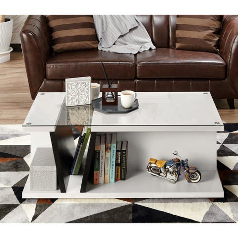 Furniture of America Jish Modern White Glass Top Coffee Table