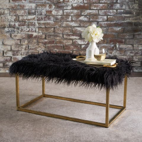 Mallory Faux Fur Rectangle Ottoman Bench by Christopher Knight Home