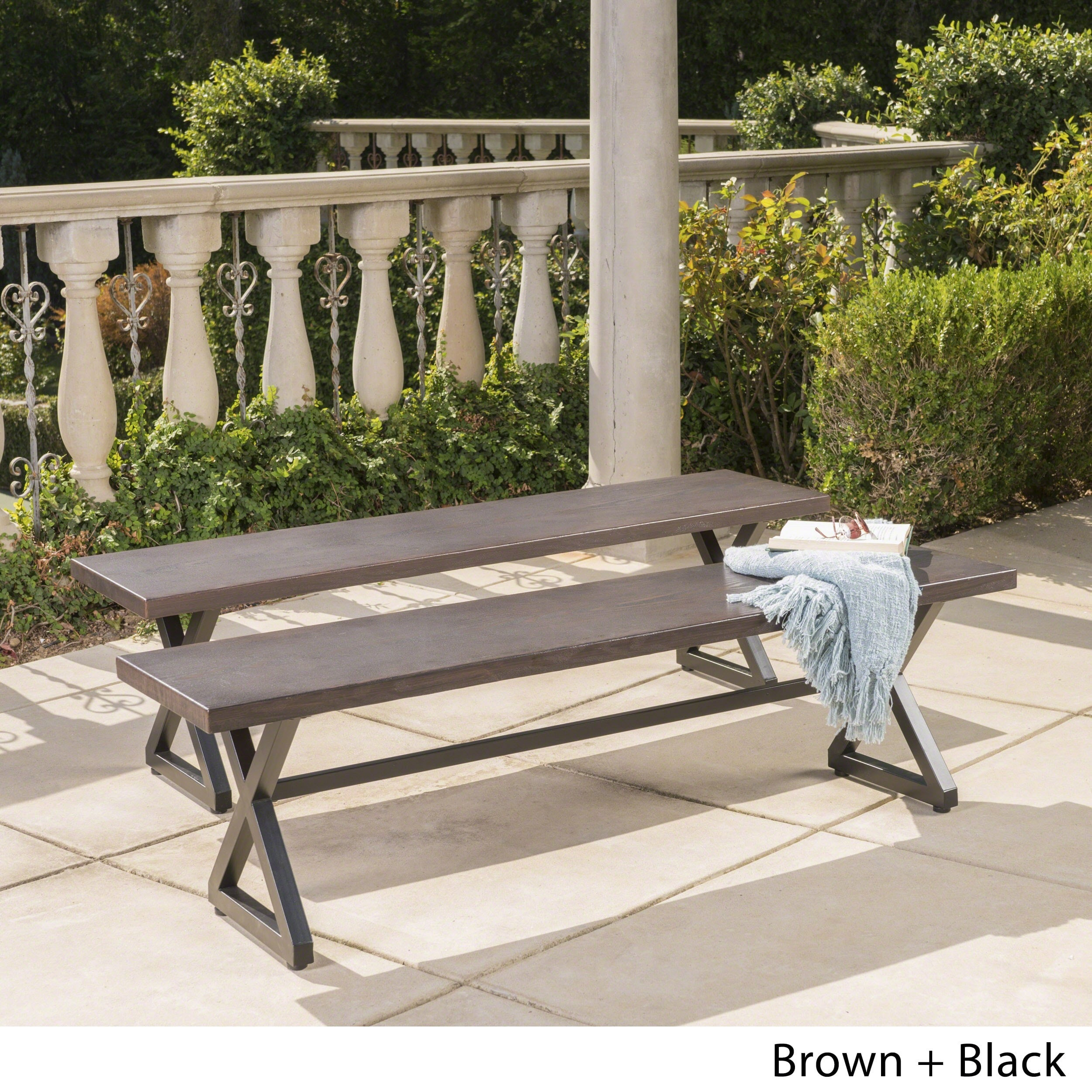 Rolando Outdoor Aluminum Dining Bench Set Of 2 By Christopher Knight Home