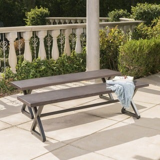 Link to Rolando Outdoor Aluminum Dining Bench (Set of 2) by Christopher Knight Home Similar Items in Patio Furniture