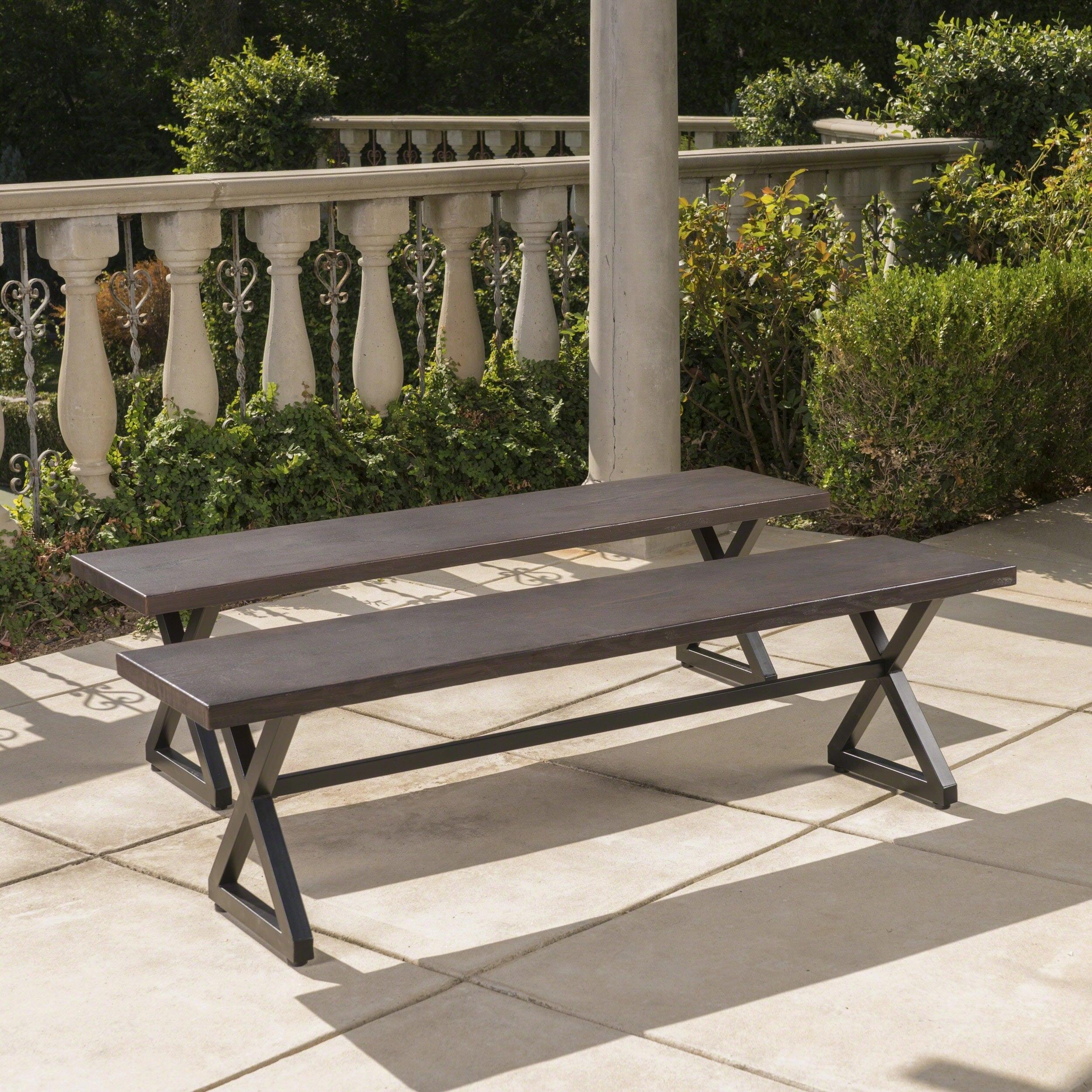 Rolando Outdoor Aluminum Dining Bench