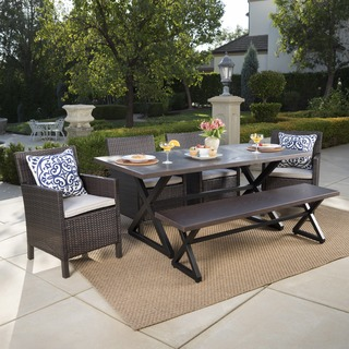 Aisha Outdoor 6 Piece Aluminum Wicker Dining Set With Cushions By Christopher Knight Home On Sale Overstock 18108932 Grey