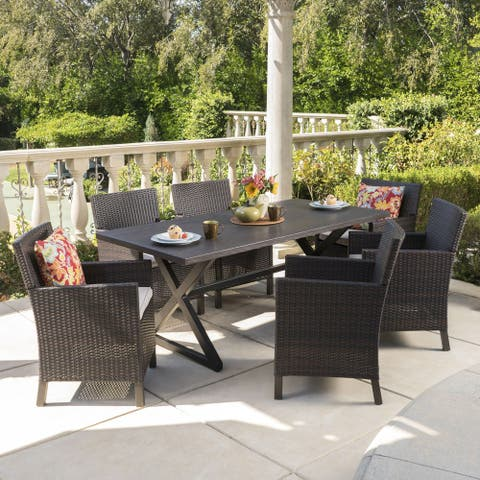 Blair Outdoor 7-piece Aluminum Wicker Dining Set with Cushions by Christopher Knight Home
