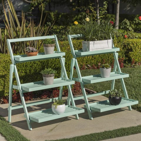 Meridien Outdoor Acacia Wood Plant Stand by Christopher Knight Home