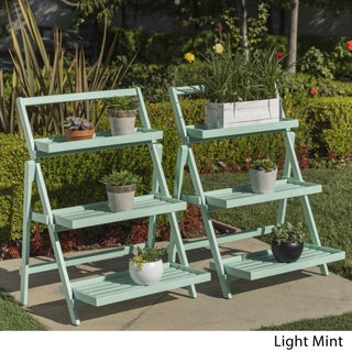 Meridien Acacia Wood Plant Stand (Set of 2) by Christopher Knight Home (Option: Light Mint)