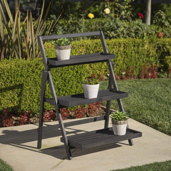 Meridien Outdoor Acacia Wood Plant Stand by Christopher Knight Home. Opens flyout.