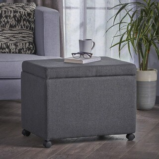 Kion Square Fabric Office Filing Ottoman with Casters by Christopher Knight Home