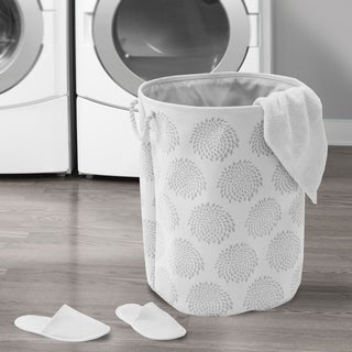 Seville Classics Large Round Fabric Laundry Hamper 2-Piece Set, Blooming Floral Print