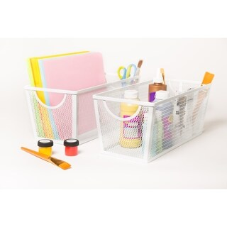 Medium Wire Nesting Utility Shelf Storage Basket 2 Piece Set, White