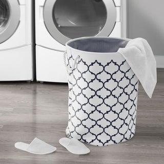 Large Round Collapsible Fabric Laundry Hamper 2-Piece Set, Moroccan Lattice Print
