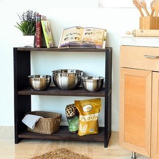 Seville Classics 3-Tier Two-Tone Folding Wide Rectangle Bookcase Shelf, Ebony & Walnut