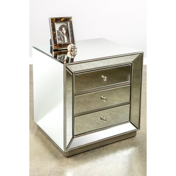 Statements By J Mie Nightstand w/ 3 Drawers, Silver Finish, 25 Inch Tall