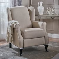 Deirdre Traditional Winged Fabric Recliner Club Chair by Christopher Knight Home