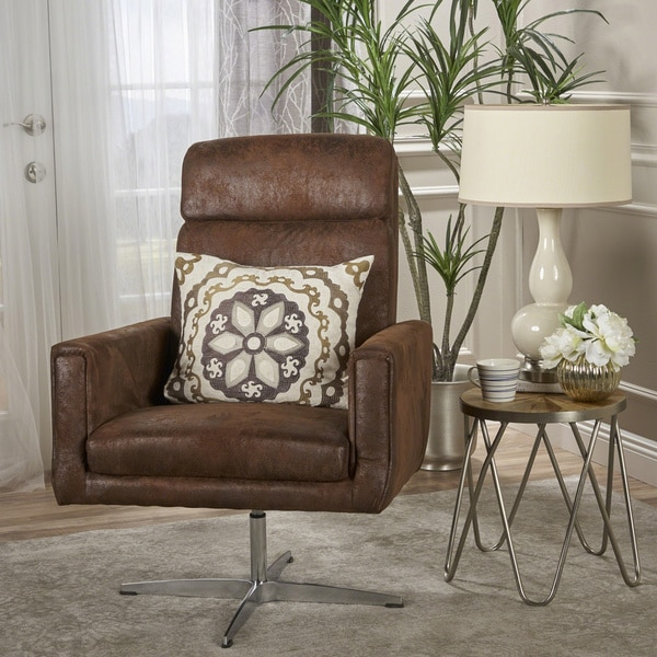 Horatia Modern Microfiber Swivel Accent Chair By Christopher Knight Home